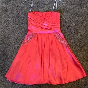Size 3-4 Coral Prom Cocktail Dress with Pockets